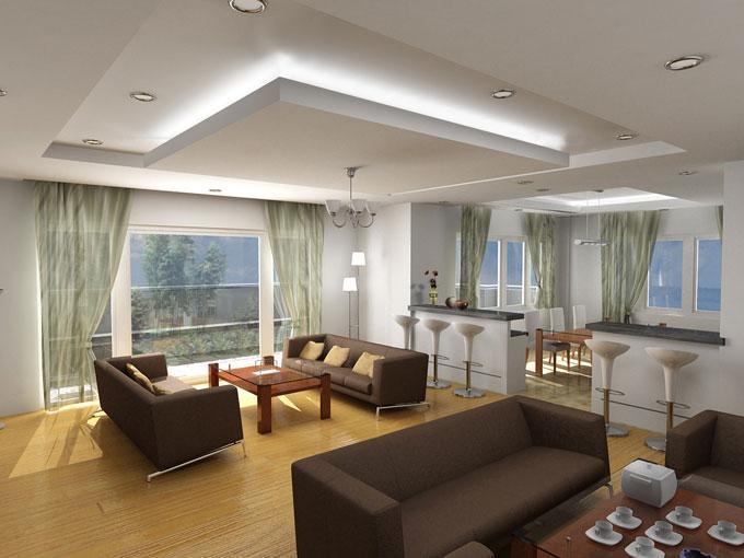 đèn hắt trần trong thiết kế nội thất phòng khách