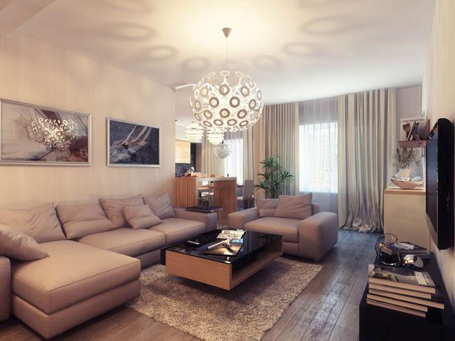 thiết kế nội thất phòng khách với ánh sáng ở trung tâm