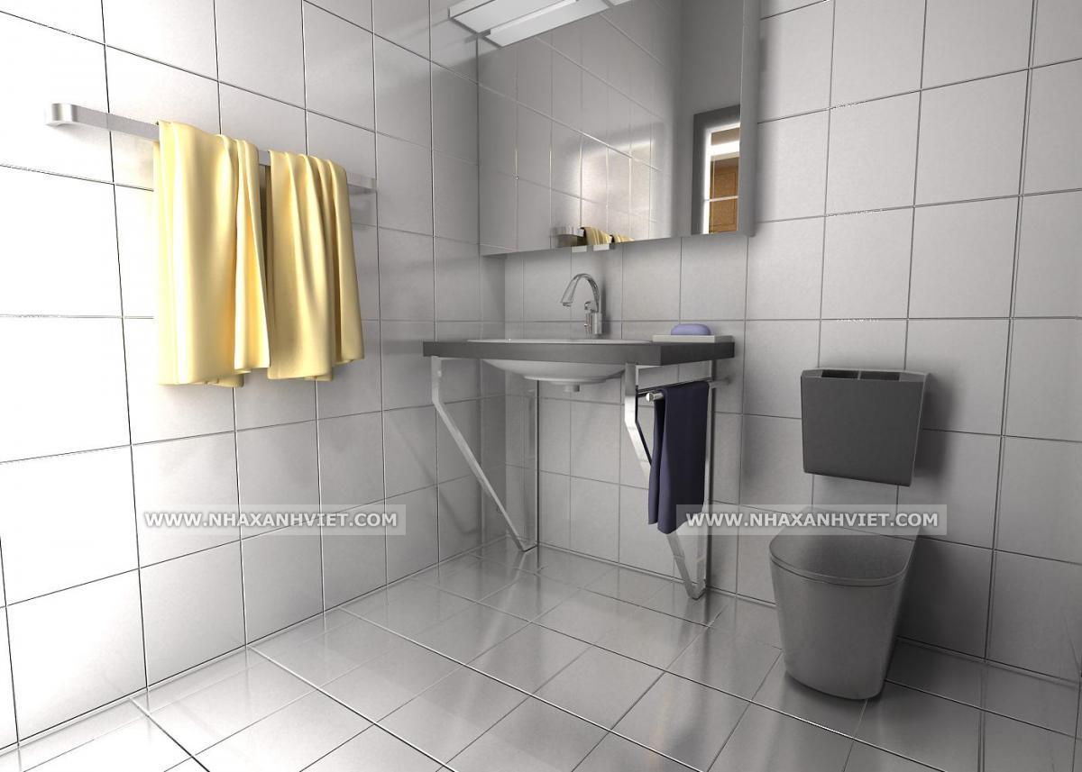 Phòng tắm rộng rãi sạch sẽ)