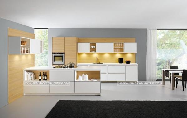 Thiết kế nội thất phòng bếp với ánh sáng độc đáo