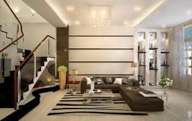 Thiết kế nội thất phòng khách với đèn chiếu sáng